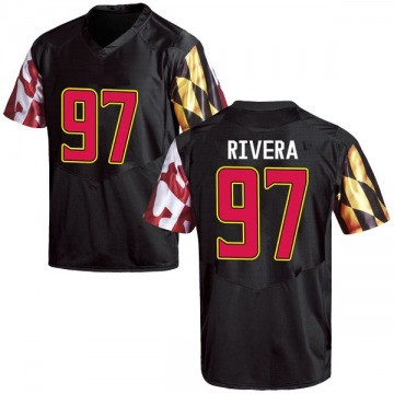 Men's Celso Rivera Maryland Terrapins Under Armour Game Black Football College Jersey