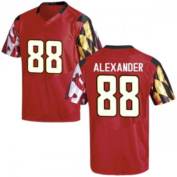 Men's Jalen Alexander Maryland Terrapins Under Armour Replica Red Football College Jersey
