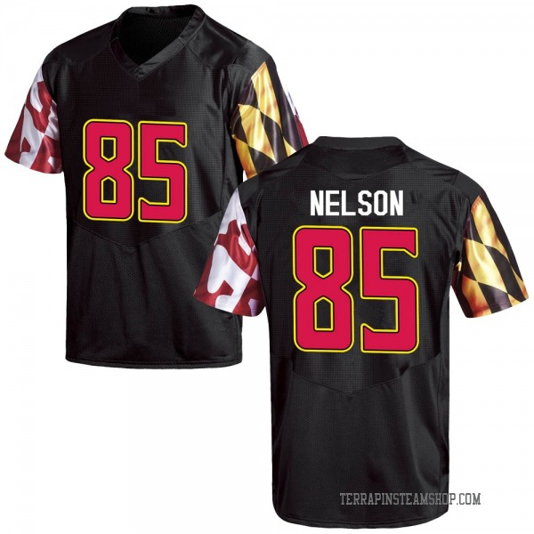 Men's Sean Nelson Maryland Terrapins Under Armour Game Black Football College Jersey