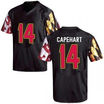 Men's Tahj Capehart Maryland Terrapins Under Armour Game Black Football College Jersey