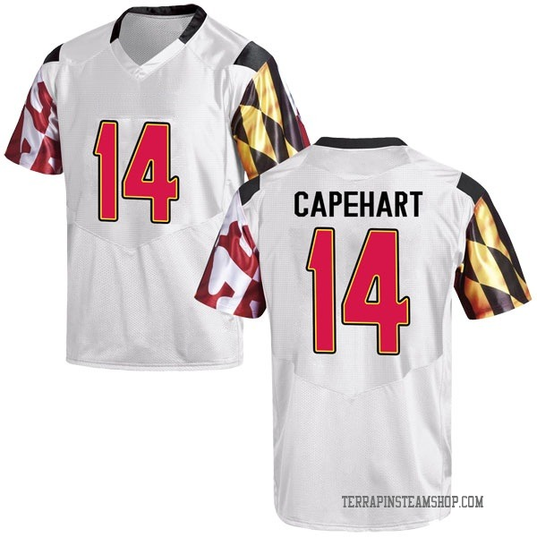 Men's Tahj Capehart Maryland Terrapins Under Armour Replica White Football College Jersey