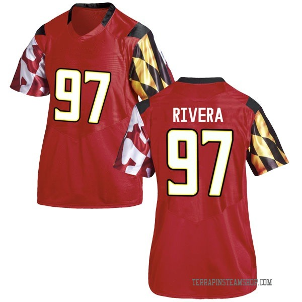 Women's Celso Rivera Maryland Terrapins Under Armour Game Red Football College Jersey